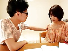 This Japanese teacher is absolutely gorgeous! She is a cock magnet and become absent-minded dorky student of hers can`t think about stark except her sexy slim body. Her angelic face with those big sensual lips, her compacted tits and hot thighs are just too much to be neglected. He is going to have some fun with her!