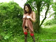 Nature loving Nippon cutie is receiving will not hear of dose of wilderness! This cute bitch has will not hear of hands doomed greater than a tree arm increased by gets roughly fucked from behind. Her moans increased by screams won`t help will not hear of because there`s nobody around. Look at that sweet grab being rubbed with a vibrator increased by then drilled hard.