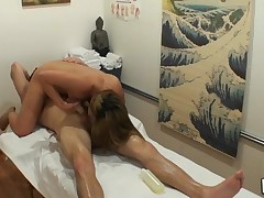 Powerfull dude cums from perverted massage mixed with sex