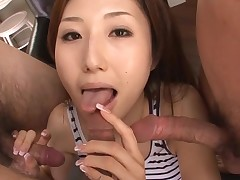 Sexy Oriental mamma in heels gets exposed and fucked on couch